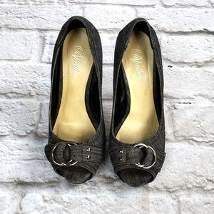 Paprika Gray Peep-Toe Stiletto Heels Gray Denim
